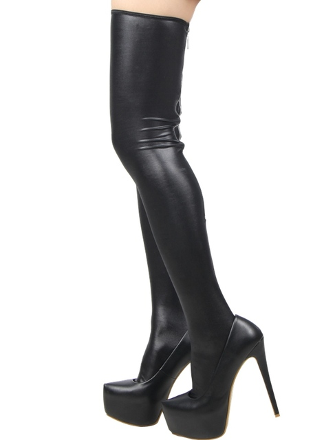 Back Zipper Black Leather Stockings
