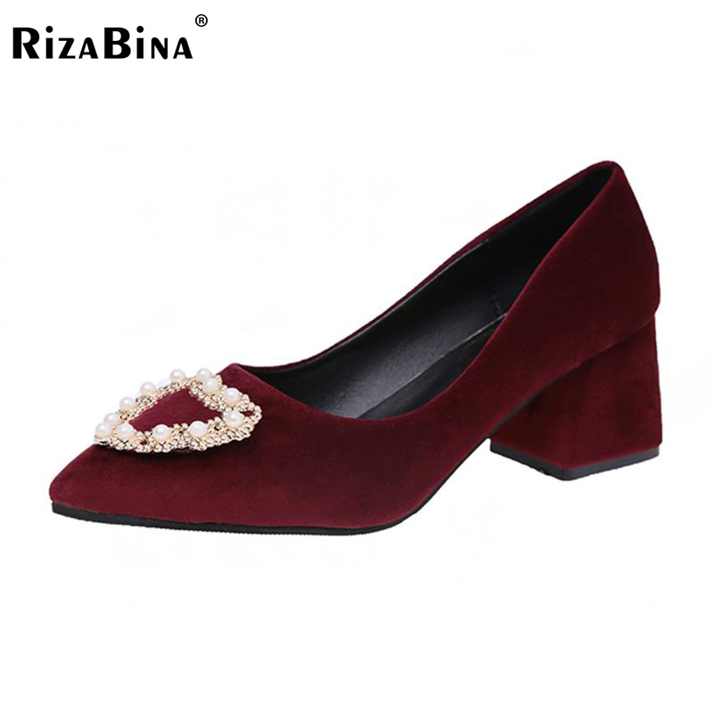 Women High Heels Shoes Pointed Toe Pure Color Pumps Lady Beading Stylish Thick Heel Shoes Women Daily Footwear Size 35-40