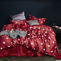 100% Mulberry Silk Bedding Outlet Red White Dot Bedding Sets Flat Sheet Duvet Cover Pillowcase Queen King Size 4pcs Summer Use