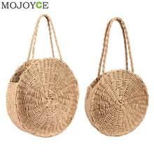 Natural de Mini Sacos de Ombro Tote Bolsas de Palha Rodada Mulheres Praia  Férias(China a383aff11c