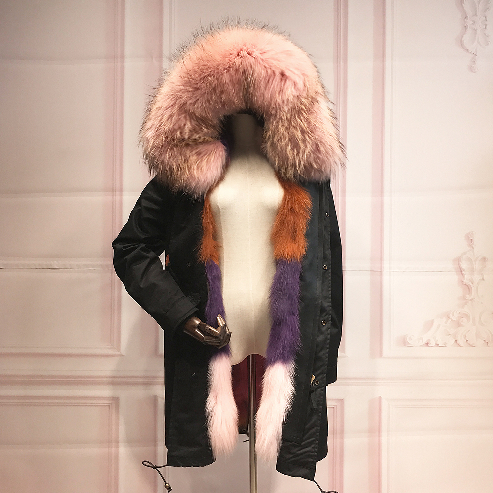 Real Fox Fur Liner winter jacket women parka real pink fur coat big raccoon fur collar hooded parkas thick outerwear for woman printed long raccoon fur collar coat women winter real rabbit fur liner hooded jacket women bomber parka female ladies fp896