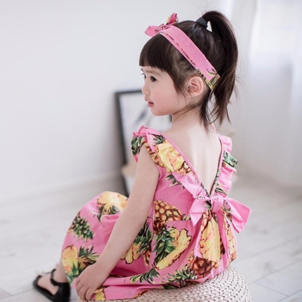 Piña impreso Niñas vestido de fiesta Ruffles girasol verano princesa ...