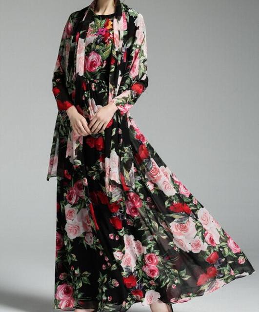 5d6150e9f10a Maxi vestito lungo chiffon di seta floreale manica lunga bohimian stile di  lunghezza del pavimento fancy