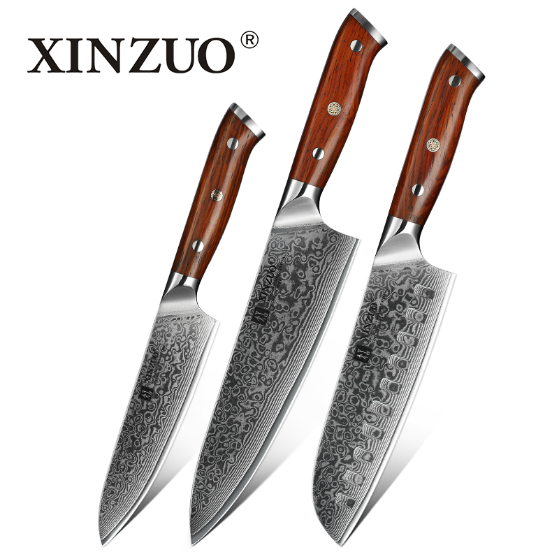 XINZUO 3PCS Kitchen Knife Set Damascus Stainless Steel Kitchen Knives Gyuto Chef Utility Knife Kitchen Tool