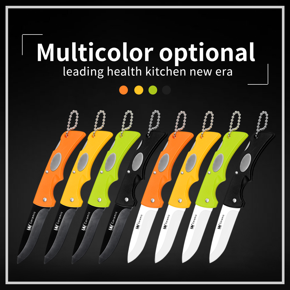 XYj Mini Ceramic Knife Gift Knife Pocket Ceramic Folding Knives Kitchen Fruit Paring Cooking Knife Colourful ABS+ TPR Handle
