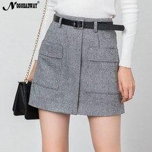 22eb3523a61 Высокая талия теплые зимние мини юбки женские короткая юбка карманы Тонкий  повседневное корейский Твид шерстяные толстые
