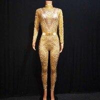 DJ Female Singer Dancer Costume Rhinestones Gold ColorJumpsuit One piece Bodysuit Nightclub Oufit Party Rompers DJ1010