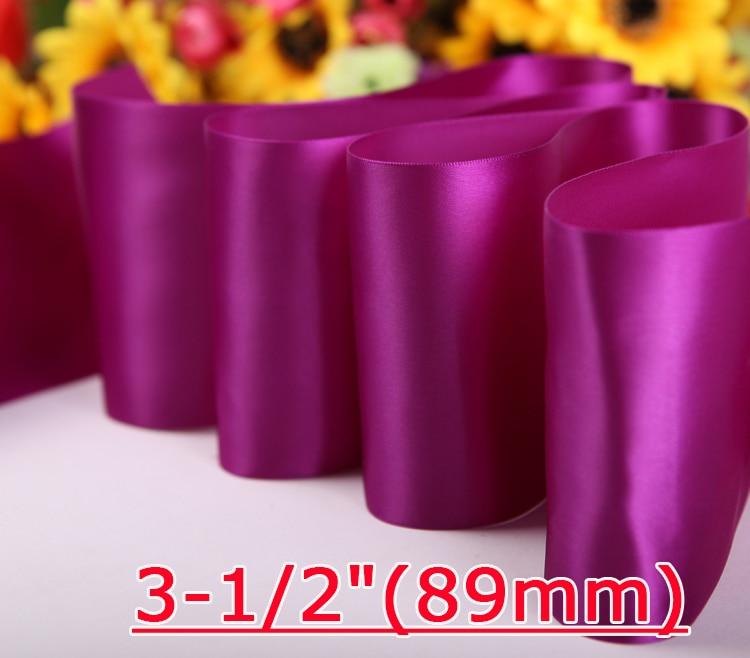 """[IuBuFiGo] 3-1/""""(89 мм) двусторонняя атласная лента для свадьбы 100 Ярд/рулон"""