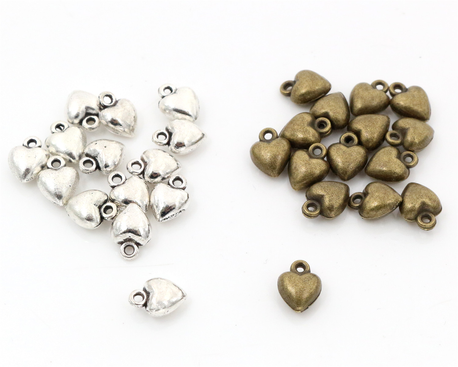 9x7mm 30pcs Antique Silver And Bronze Plated Heart Handmade Charms Pendant:DIY For Bracelet Necklace-