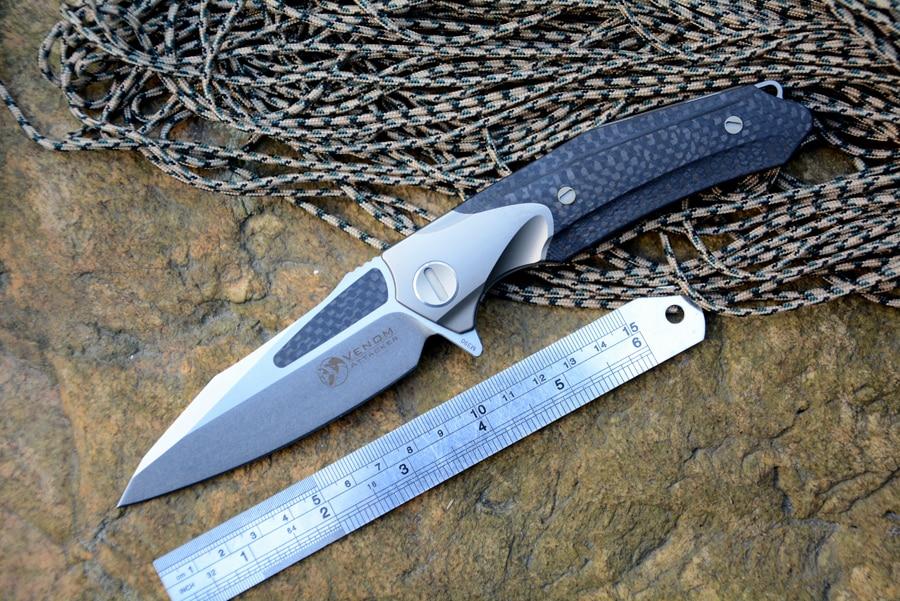 Coltello Kevin John Venom ATTACCO Coltello tattico Lama M390 Impugnatura in fibra di carbonio di titanio Coltelli da caccia per sopravvivenza all'aperto