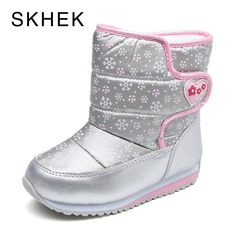 SKHEK 2018 Snow Boots Kids Winter Wool Boots Boys Waterproof Shoes Fashion Warm Baby Boots For Girls Toddler Footwear Size 23-32 skhek brand winter boots girls high quality children botas for kids shoes warm baby shoe boy kids boots footwear
