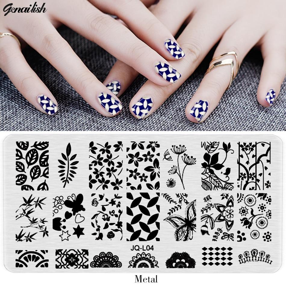 ჱJQL-Nail Stamping Plates Stencils for Nails Art Lace Flower Animal ...