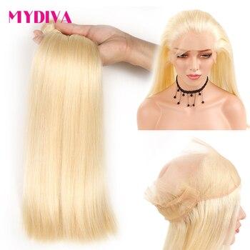 Perruque Lace Frontal wig 360 naturelle Remy | Cheveux lisses, blond 613,, pre-plucked, tissage en lot, avec Frontal, lots de 2