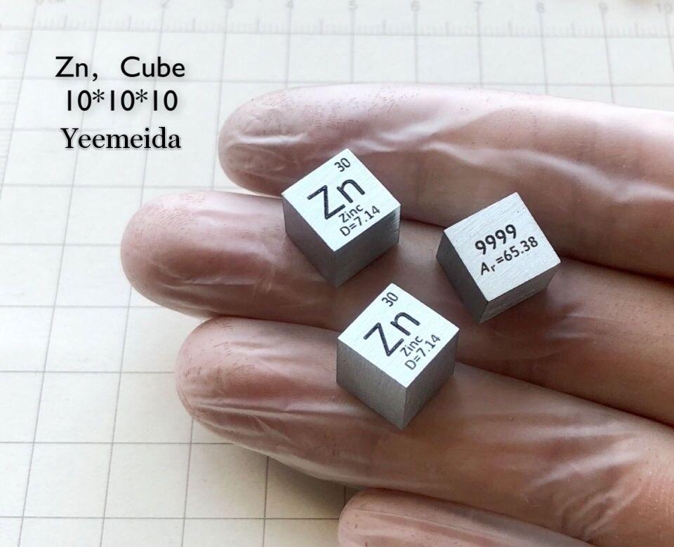 Купить с кэшбэком Metal zinc periodic table cube side length 10mm Zn 99.99 zinc cubic element