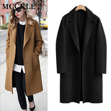 MCCKLE 2018 Autumn Winter Women Wool Coat Europe Style Slim Long Woolen Overcoat Female Black Camel Wool Blend Coat Dropshipping(China)