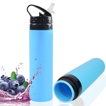 600ml Portable Motion Squeeze Water Bottle For Sports Camping Hiking Climbing Foldable Silicone Outdoor Drink Gym Kettle