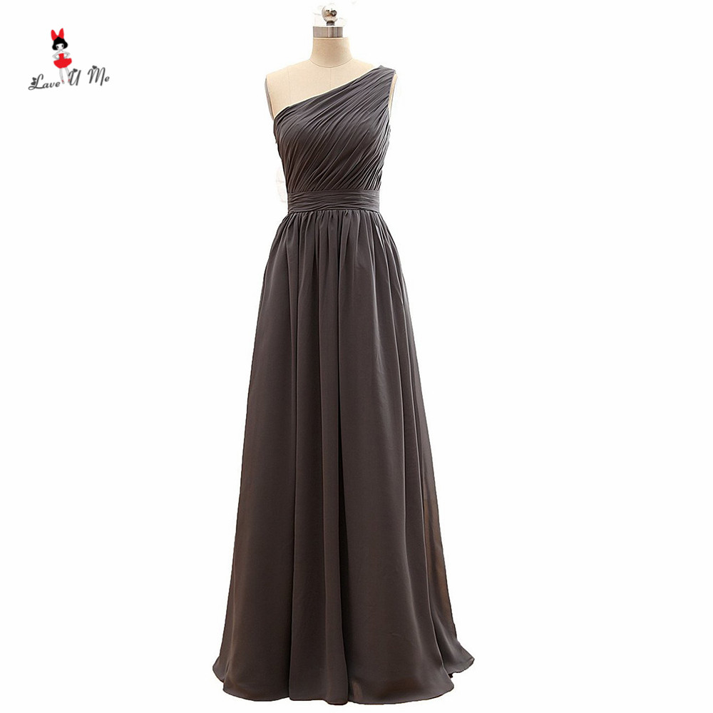 Gray Bridesmaid Dresses Long one Shoulder Wedding Party Dress 2017 Pleated Cheap Prom Gown Robe Demoiselle d'honneur Madrinha