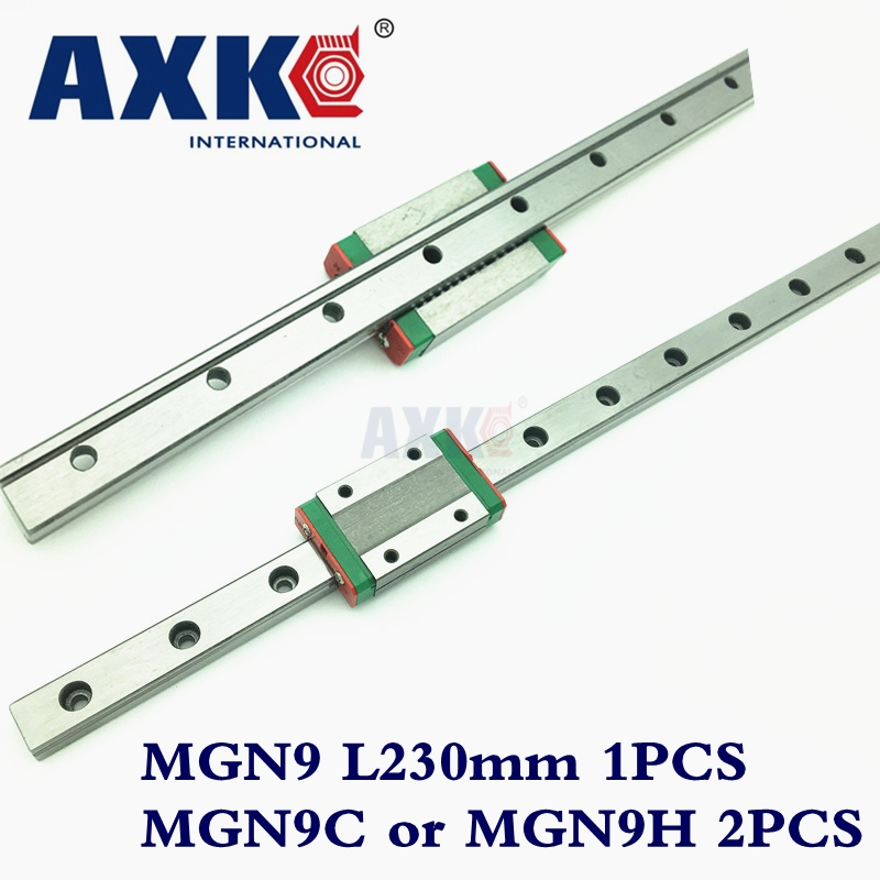 2017 New Promotion Linear Rail Cnc Router Parts Axk Linear Guide Rail 230mm Mgn9 With 2pc Mgn Mgn9c Or Mgn9h Carriage лента капроновая рисунок горошек шир 2 5см дл 1 8м 313019