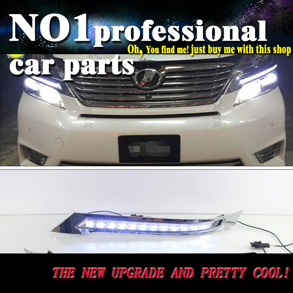car styling for toyota vellfire 2013 - 2015 LED DRL Daytime Running Lights Daylight Waterproof White Yellow Turning Signal car styling for jeep grand cherokee error free hid white 3157 mirror reflector led bulbs for daytime running lights drl