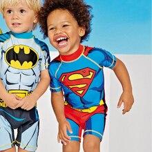 UPF50+ Child Swimwear Minions Bathing Suit Batman Swimming Boys Captain America Kids Sport Beachwear One Piece Baby Swimsuit