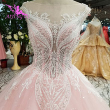 AIJINGYU Low Back Bridal Gowns Long Sleeve Wedding Dresses