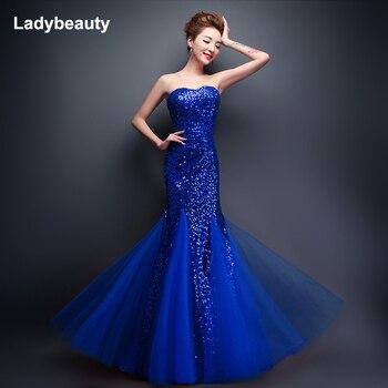 Ladybeauty 2018 New Mermaid Sweetheart Sleeveless Sequined Tulle Lace up Evening Dress Royal Blue vestidos