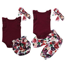 Baby Girls Cotton Clothes Set Fashion Newborn Baby Girl Rose Red Sleeveless Tops Romper Floral Pants/Shorts 3PCS Outfits 0-18M newborn baby girl clothes sleeveless tops shorts 2pcs outfits set 0 18m girls rompers clothing