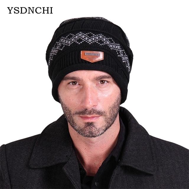 Ysdnchi invierno etiqueta geometría patrón beanies hecho punto lana ...