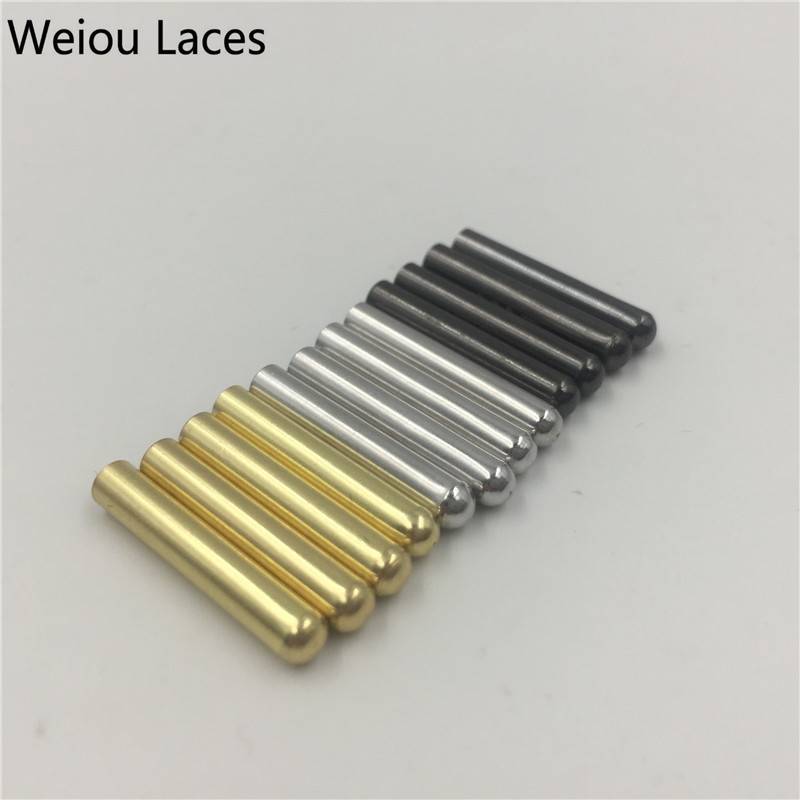 Weiou 100pcs/Lot 3.8x22mm Shoe Laces Clothes Metal Aglets Shoelaces Tips DIY Replacement Aglet Silver Gold Black Wholesales Ends