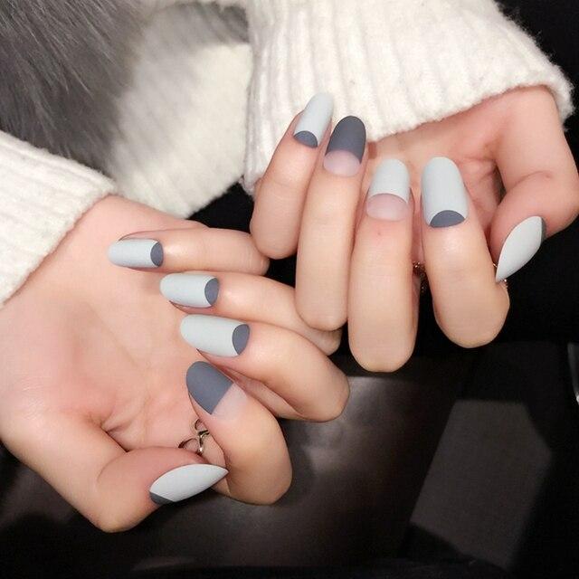 Matte Style Short Acrylic Nails Gradient Black Fake Nail Daily Wear ...
