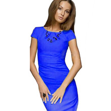 Shocking Show 1PC New Womens Sexy Short Sleeve Midi Party Bodycon Dress