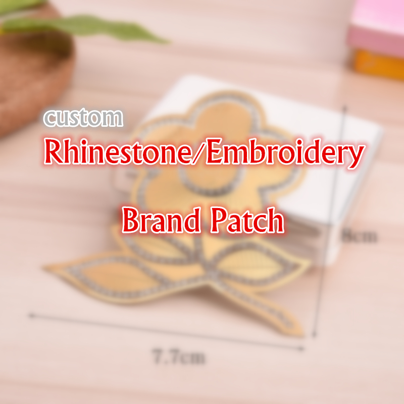 5pcs/lot  Sparkling Rhinestone Brand Pattern Clothes Patches Embroidery Patch Custom
