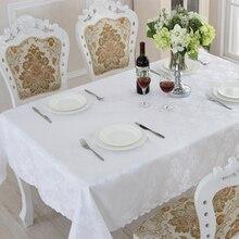 Europa Estilo Mantel Oilproof Impermeable Cuadro de Tela de Alta Calidad de Color Blanco Puro Se Aplican Al Aire Libre Home Hotel Banquet ZM-14