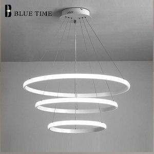 Image 4 - Creative מודרני בית LED עבור סלון חדר שינה אוכל חדר לבן & שחור & זהב & קפה מעגל מסגרת LED נברשות AC 110V 220V