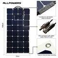 Allpowers 100 w 12 v 18 v kits painel solar semi flexível com conector mc4 cabo de carregamento para barco rv cabine tenda carro