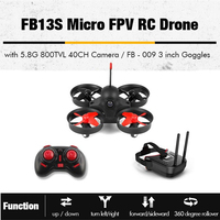 FB13S Micro FPV RC Racing Quadcopter Drones With 5.8G 800TVL 40CH Camera With 3Inch FB 009 FPV Goggles VR Headset Helicopter Toy
