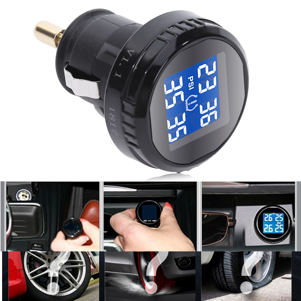 New Car Wireless TPMS Tire Pressure Monitoring System with 4 External Replaceable Battery Sensors LCD Display High Quality tyresafe tp200 tpms car tire pressure monitoring system with 4 external sensors diagnostic tool free shipping