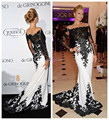Fashionable 2016 white and black evening dress long sleeve lace mermaid evening dresses evening gowns vestidos de festa longo