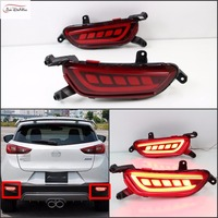 JanDeNing Car LED Light Guide Rear Bumper Reflector Tail DRL Driving Brake Stop Light for Mazda CX 3 2016 2017