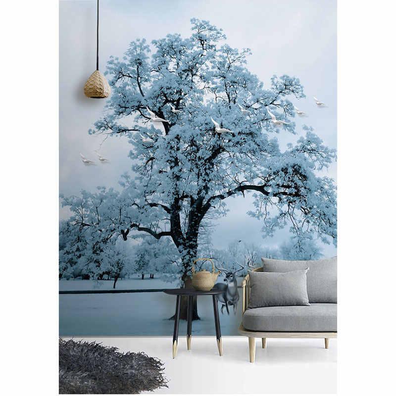 Papel de pared de dormitorio sala de estar 3 D árbol de nieve Elk pájaros foto pared pintura murales pegatinas vinilo autoadhesivo/ seda de papel