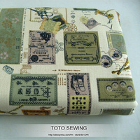 Vintage Classic Stamps Printed Linen Cotton Fabrics Patchwork 140cm 100cm Free Shipping T20131301 Totosewing