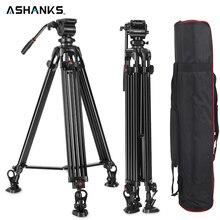 Tripé profissional ashanks 0508a 5kg, tripé para câmera/tripé de vídeo/dslr, amortecimento fluido de cabeça para vídeo