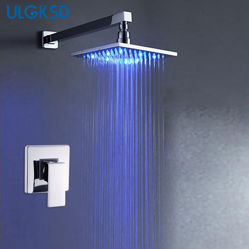 ULGKSD Bathroom Shower Faucets 8 Inch LED Shower Head Wall Mounted Shower Arm Mixer Tap Ceramic valve xueqin bathroom bath shower faucets water control valve wall mounted ceramic thermostatic valve mixer faucet tap