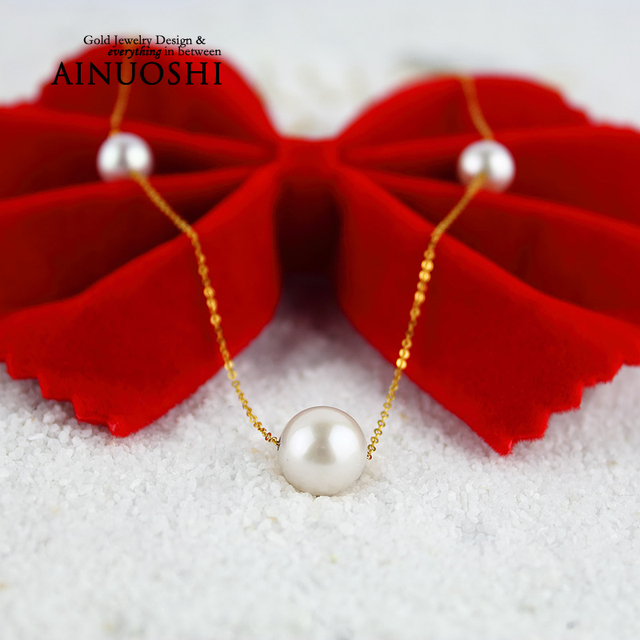 AINUOSHI 18K Yellow Gold Natural Cultured Freshwater Pearl Choker Necklace AAAAA Pearl Pendant Necklace for Women Engagement