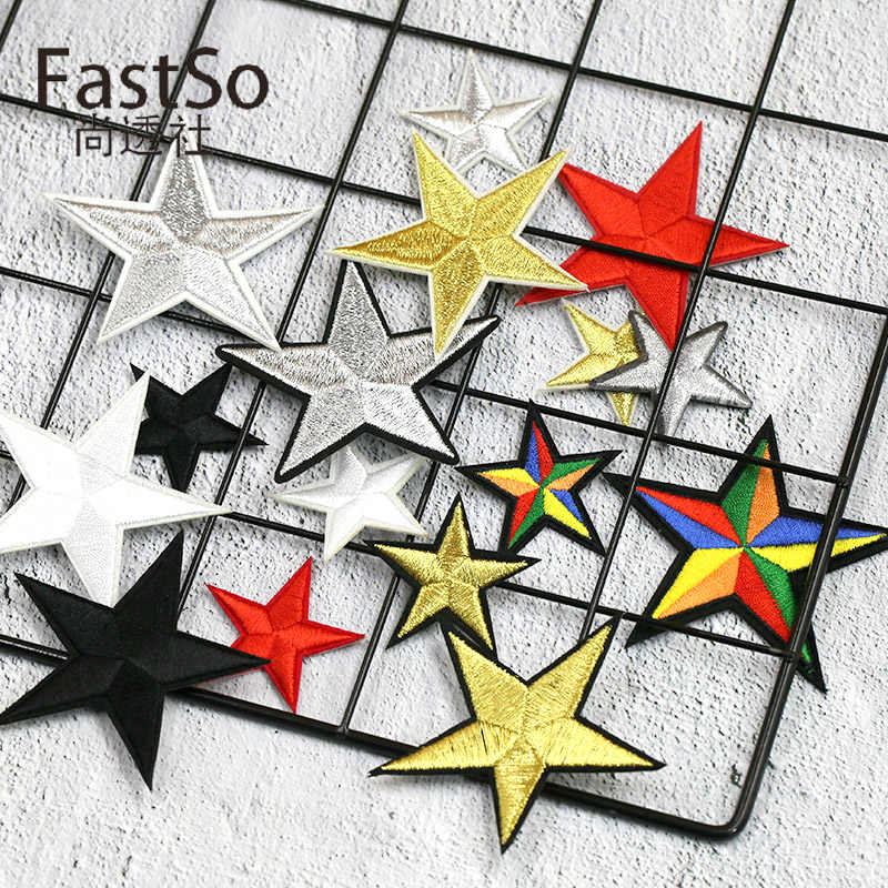 4e43bfc9ac886 Embroidery Five-pointed Star Patch Clothes Golden Silver Red Black Mini  Pentagram Iron on Patches