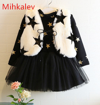 Mihkalev Princess winter suits for girls clothing sets Vest + dress 2PCS thicken children clothes set for birthday party costume kids dress set for girls dress shirts 2pcs sets clothes set for big teenager clothing girls princess dress h92