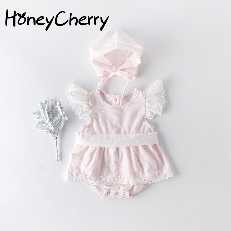 Summer Baby Bodysuits Wear Sweet Princess Lace Cotton