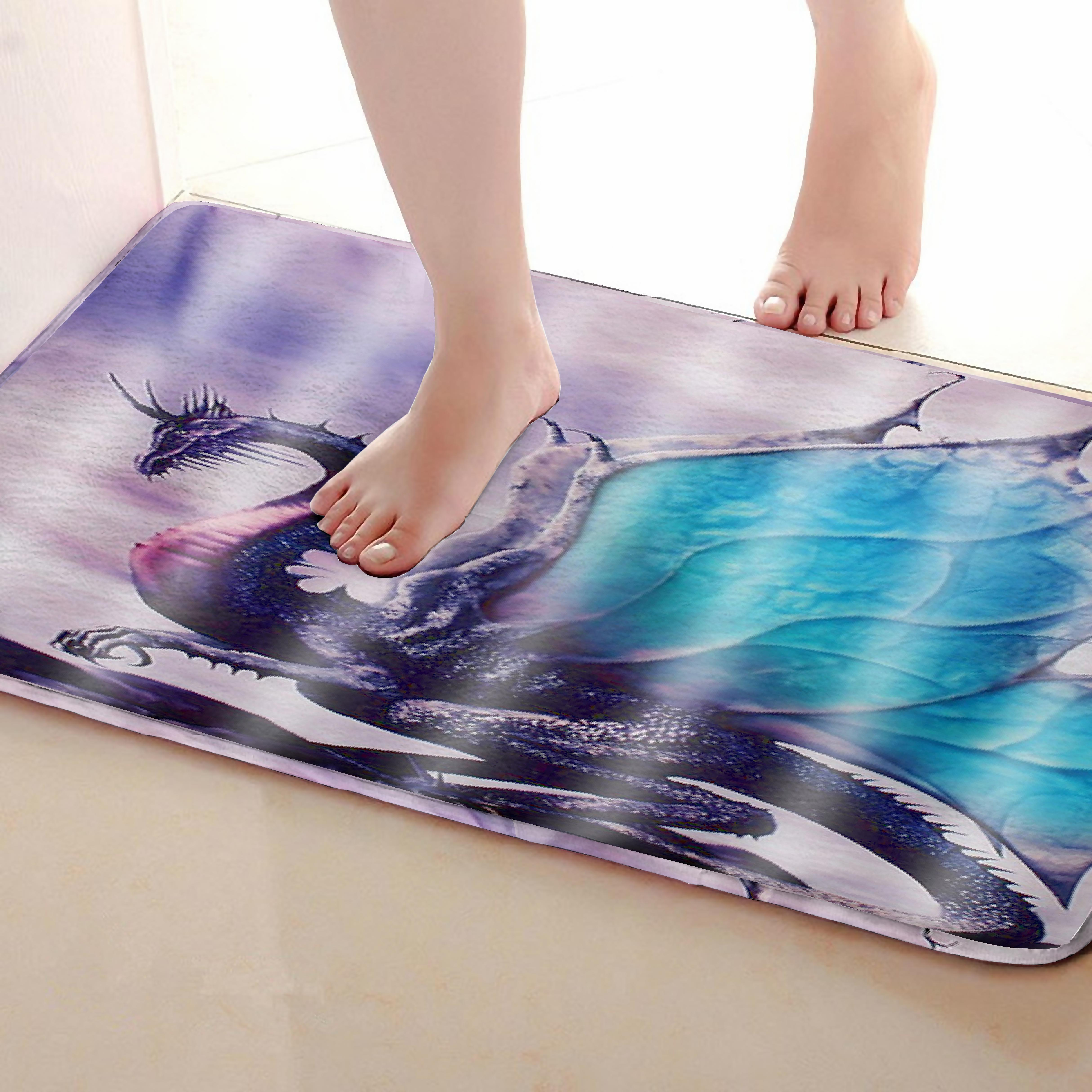 Dinosaur Style Bathroom Mat,Funny Anti Skid Bath Mat,Shower Curtains Accessories,Matching Your Shower Curtain