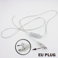 Line Cable 1 8m On Off Power Cord For LED Lamp With Button Switch EU Plug