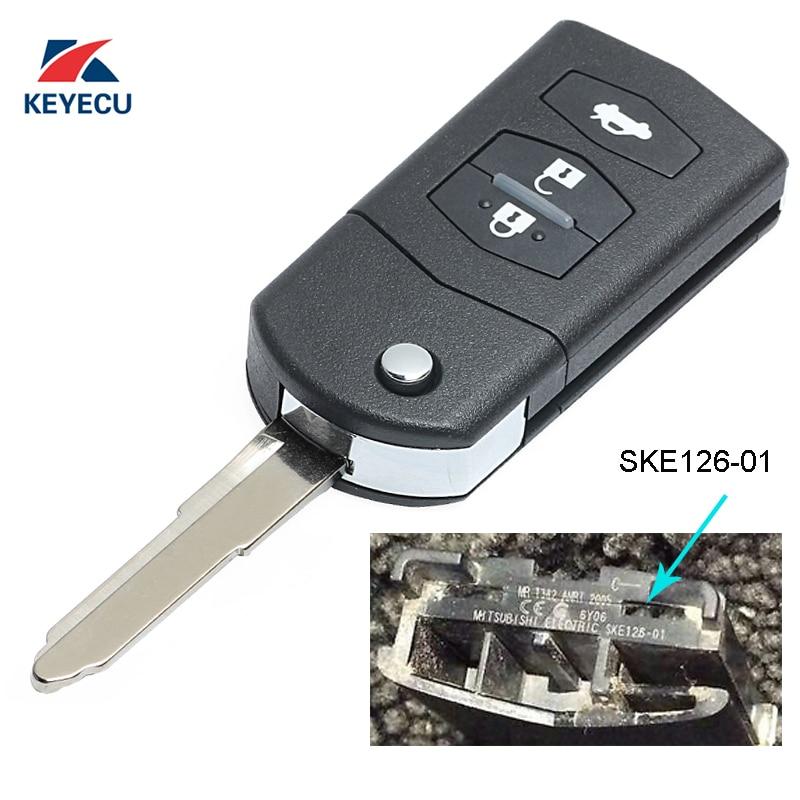 KEYECU Replacement Flip Remote Car Key Fob 3 Button 433MHz 4D63 For Mazda 2 / 3 / 5 / 6 / MX5 / CX7 (SKE126-01)